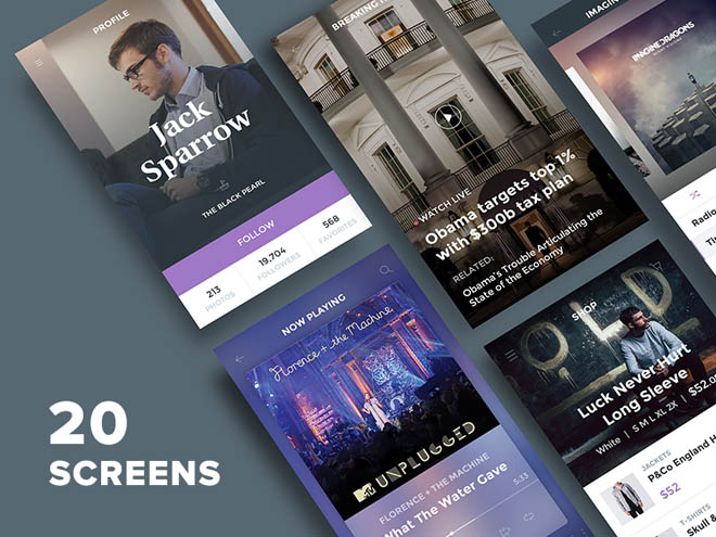 Ghost Ship : Free Mobile UI Kit PSD