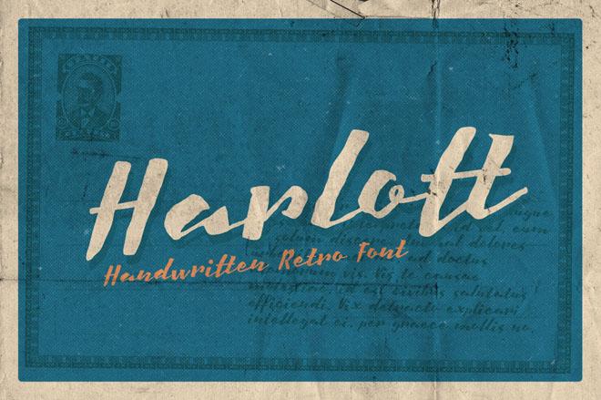 Harlott : Free Handwritten Retro Font