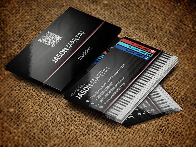 Free Musician Business Card PSD Template