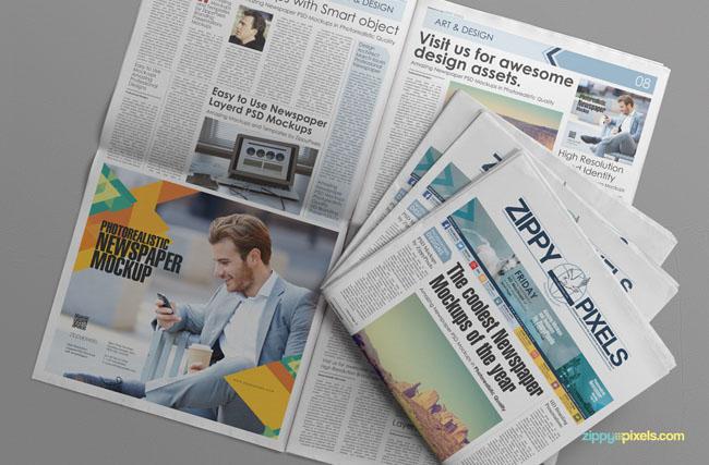 Free Newspaper PSD Mockup