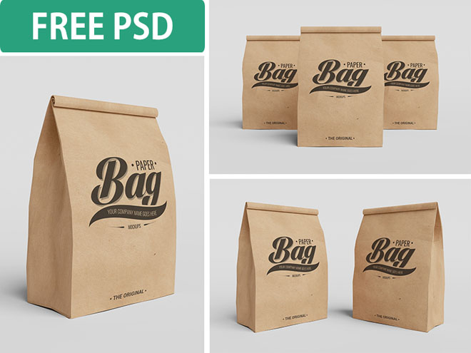 3 Free Paper Bag Mockups