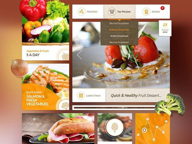 Delicious Recipes Food UI Kit PSD