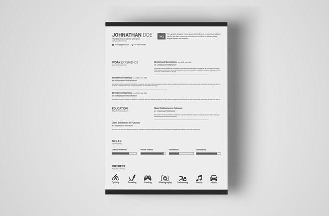 Free Simple Resume PSD Template