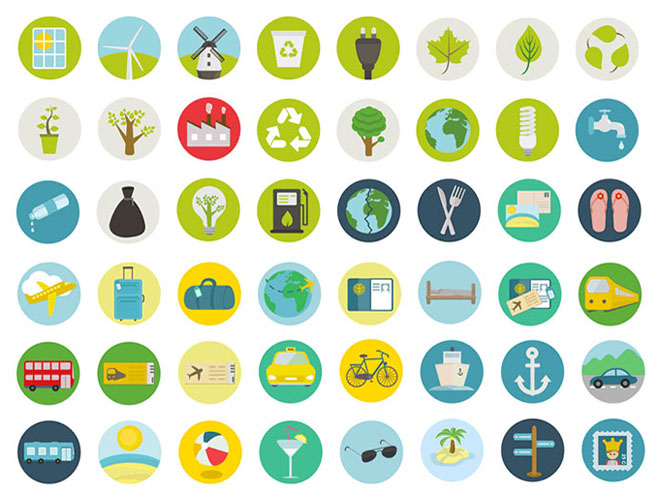 50 Free Travel and Ecology Icons