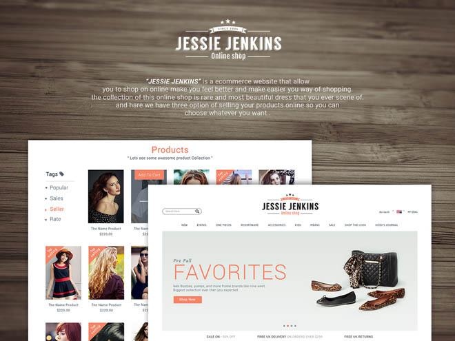 Jessie Jenkins : Free Fashion Ecommerce PSD Template