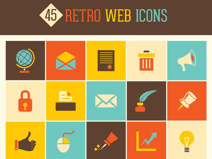 45 Free Retro Web Icons