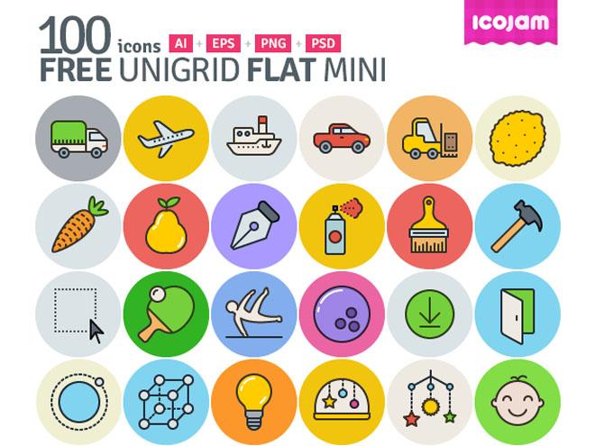 Unigrid : 100 Free Flat vector icons