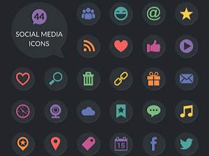 40 Free Social Media Icons PSD