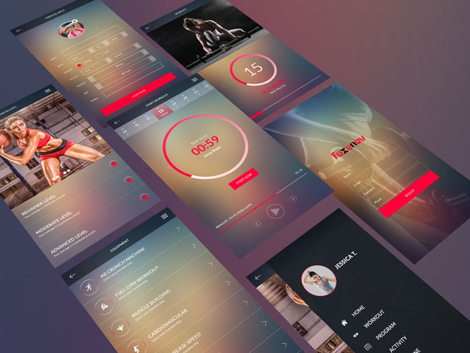 Faxenev – Free Workout Apps UI Design