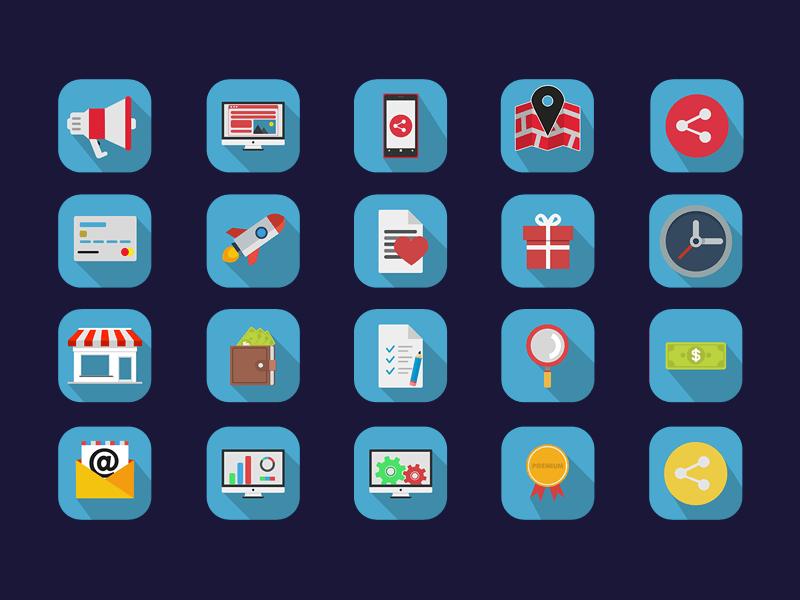Free Colourful Flat Icon Set