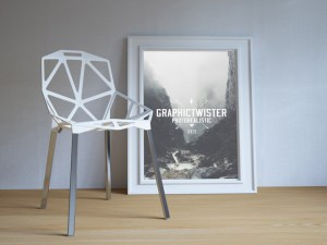 Single Poster Frame Mockup with Chair