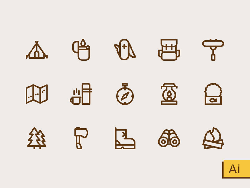 Camping and Outdoor Icon Set (AI)