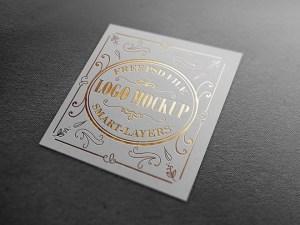Square Metalic Stamping Logo Mockup