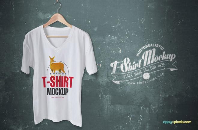 Free V-Neck T-Shirt Mockup PSD