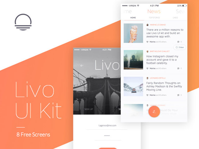 Livo : Free Mobile UI Kit (PSD & Sketch)