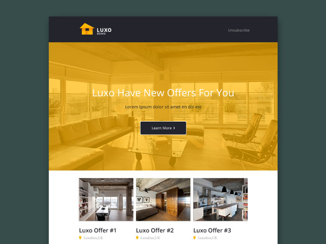 Luxo – Real Estate PSD Email Template