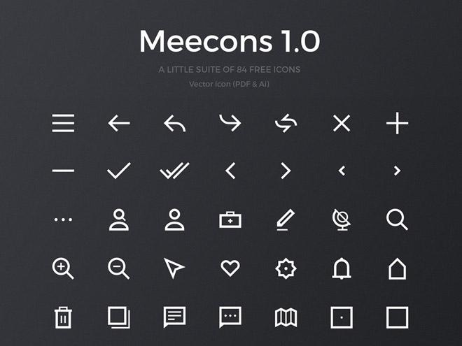 Meecons 1.0 – 84 Free Vector Icons (PDF & AI)