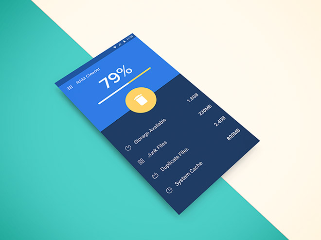 Memory Cleaner App UI for Android (PSD)