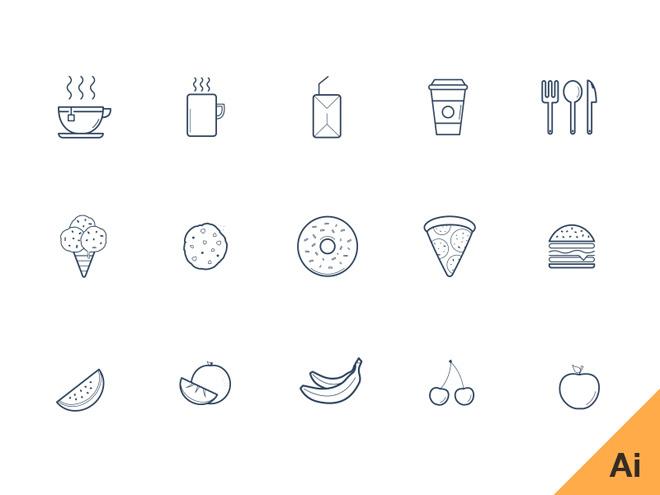 Free Kitchen Icon Set (AI)