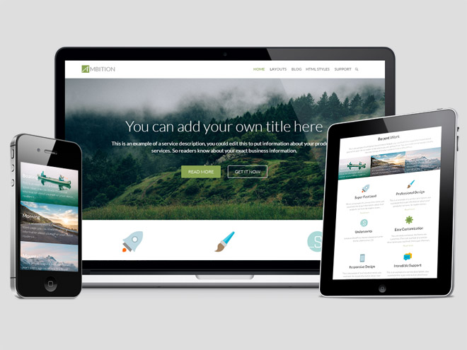 Ambition : Free Flat Business WordPress Theme