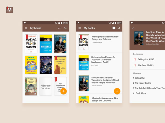 Mobile Book Reader App UI PSD