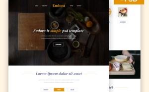 Eudora : Free Minimal Restaurant PSD Web Template