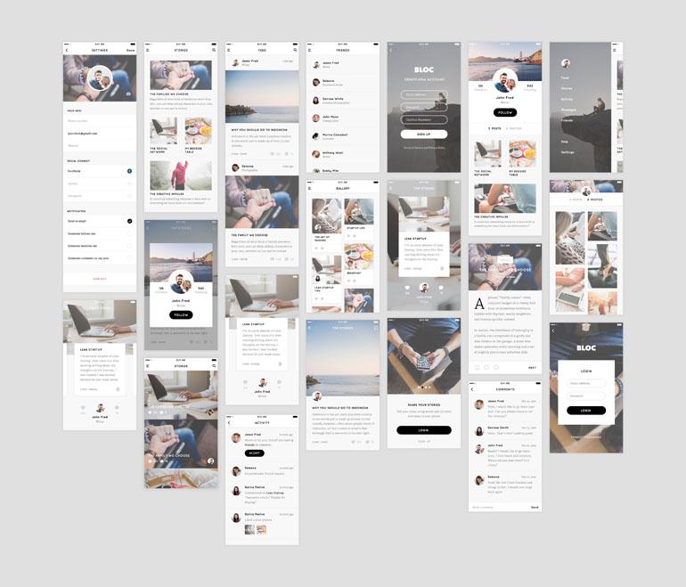 Bloc – Free Blog UI Kit (Sketch)