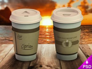 Free Coffee Cup Logo PSD Mockup
