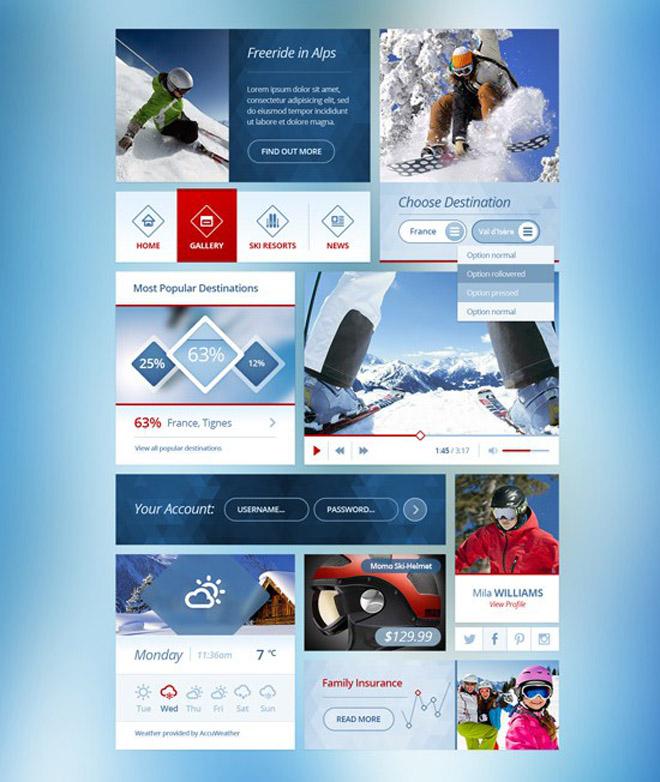 Snow Flakes : Free Winter UI Kit PSD