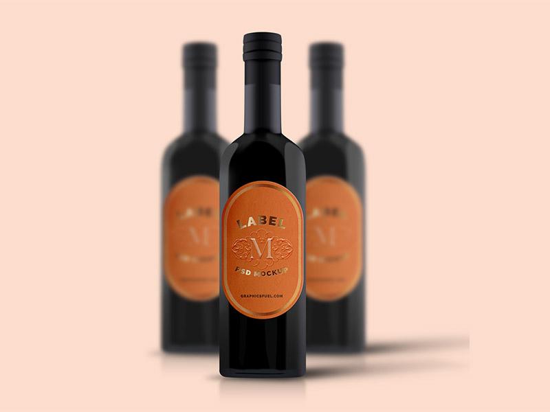 Wine Bottle Label Mockup PSD