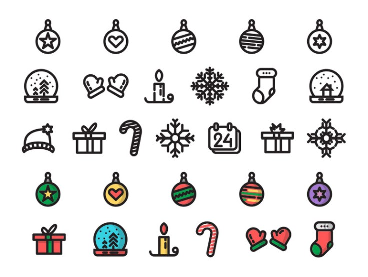 Free Cute Christmas Icon Set