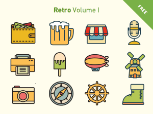 Free Vector Retro Icon Set
