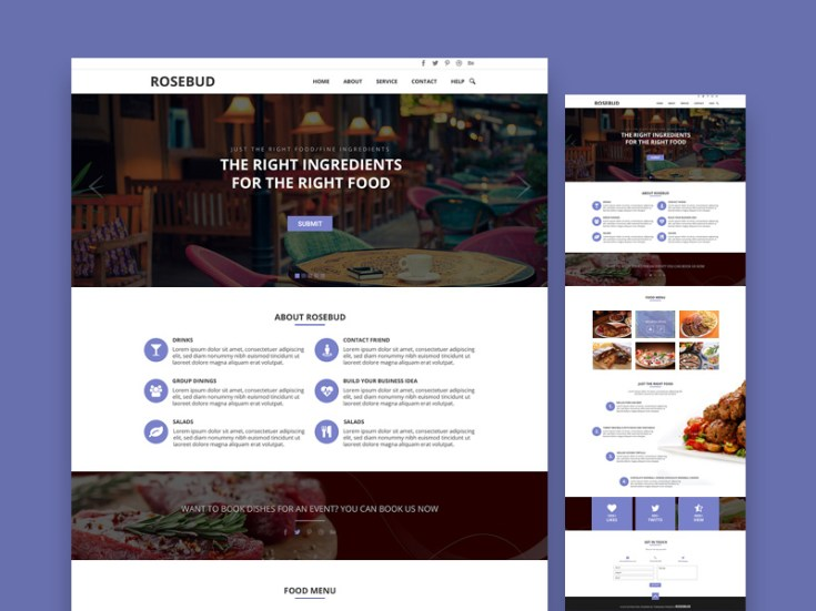 Rosebud : Free One Page Landing Page Template