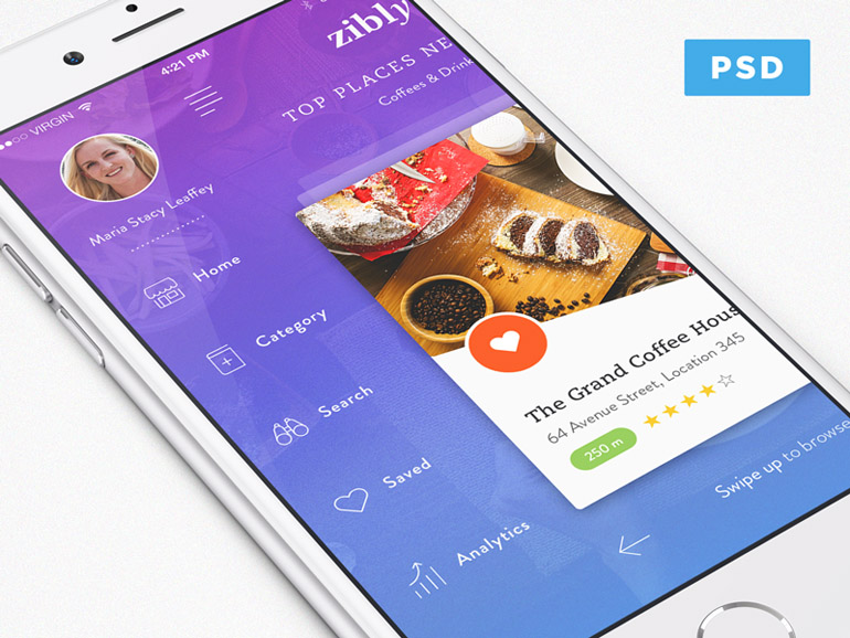 Zibly : Restaurant Finder App UI PSD