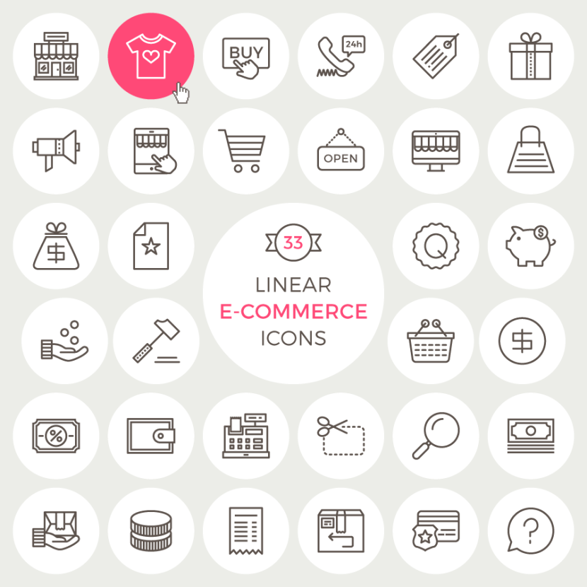 33 Linear Ecommerce Icons