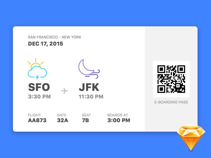 Boarding Pass Widget UI