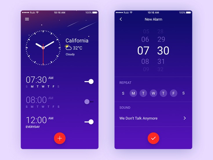 Free Clock App UI Sketch