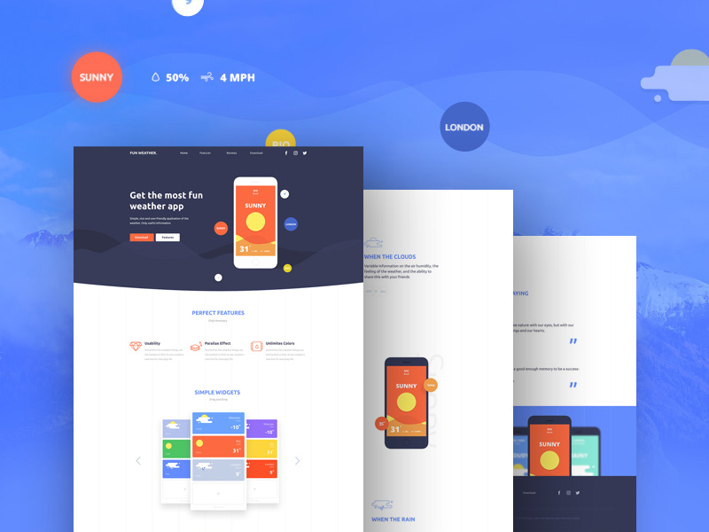 Flat App Landing Page PSD Template