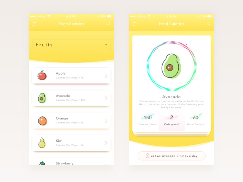 Food Calories App UI
