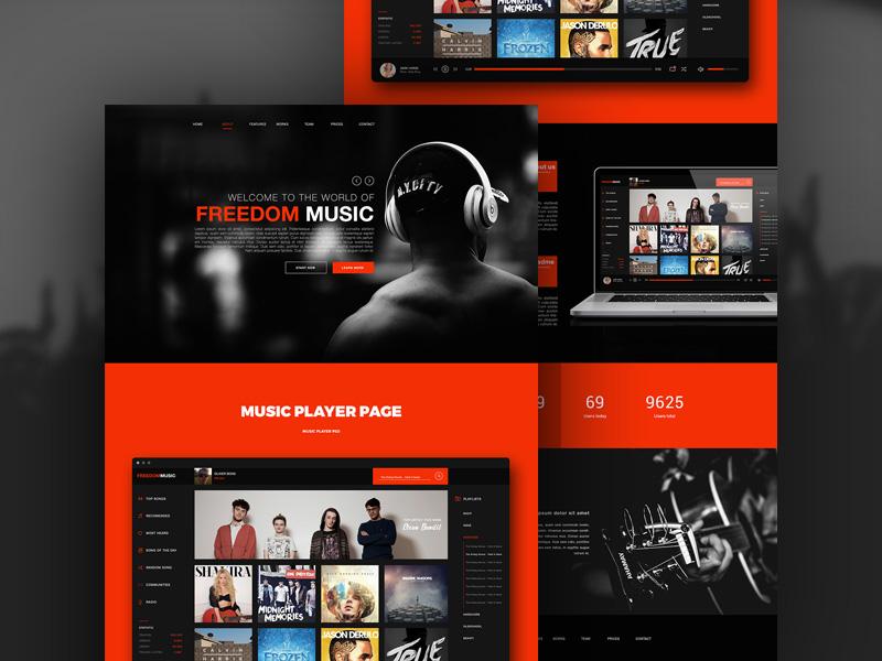 Freedom : Music PSD Web Template