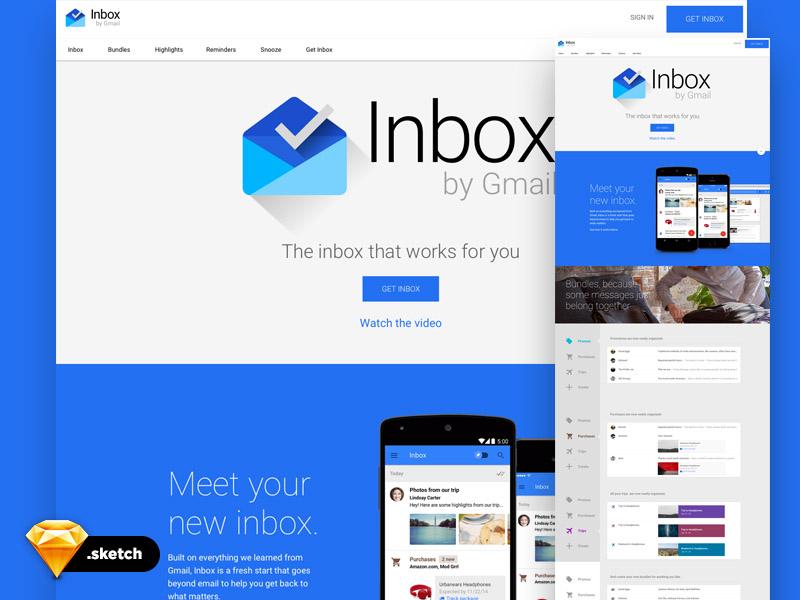 Google Inbox UI Kit Sketch