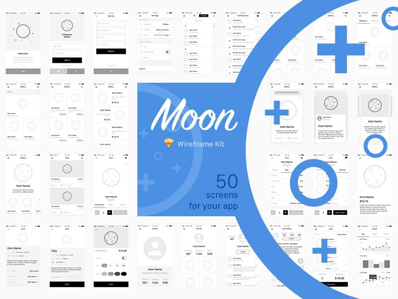 Moon Wireframe Mobile UI kit