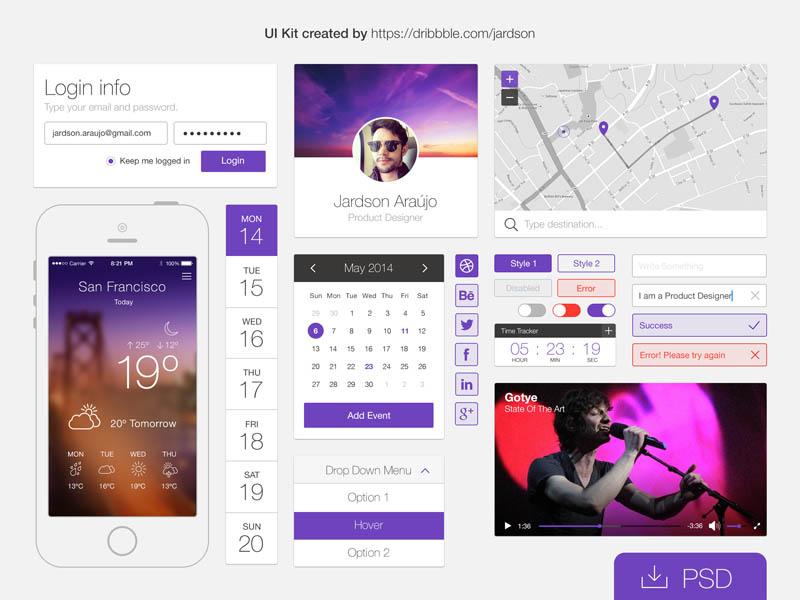 Simple Flat PSD UI kit