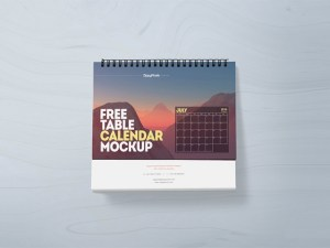 Free Table Calendar Mockup PSD