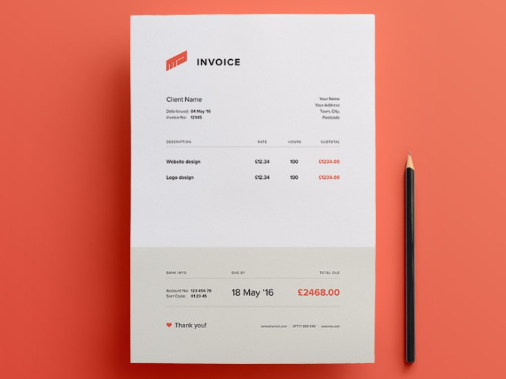 free illustrator invoice template - free download | freebiesjedi, Invoice examples