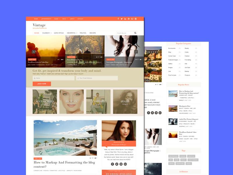 Vintage – Free Clean and Modern WordPress Theme