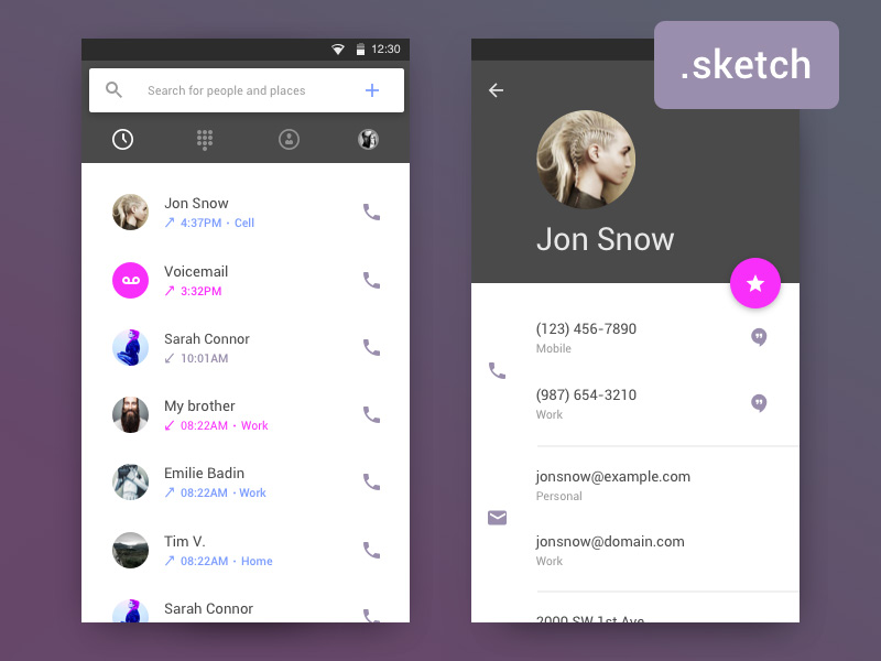 Android Contact UI Design