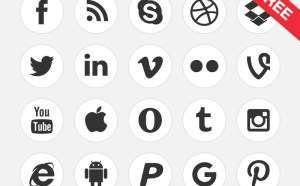 Free Black & White Social Media Icons