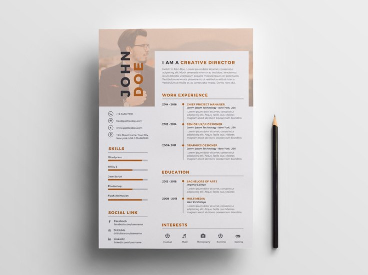 Free Brown Resume Template PSD