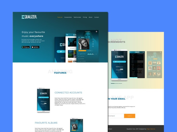 Equalizr : Free PSD Landing Page Template